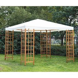 Outsunny 10′ x 10′ Outdoor Gazebo Sun Shade Shelter with Wooden Lattice – Crea ...