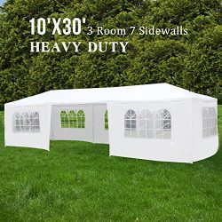 ORKAN 10'x30′ Canopy Party Wedding Tent Outdoor Gazebo Heavy Duty 7 Sidewalls