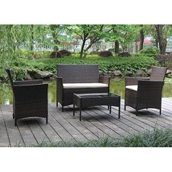 VIVA HOME On Patio Furniture Ratten Dining Sets 4PCS With Beige Cushion, Outdoor Wicker Sofa