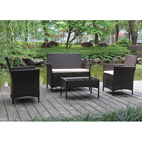 Viva Home On Patio Furniture Ratten Dining Sets 4pcs With