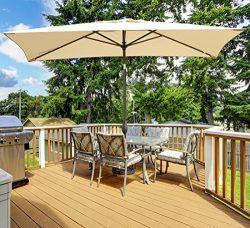 Abba Patio Rectangular Patio Umbrella Outdoor Market Table Umbrella with Push Button Tilt and Cr ...