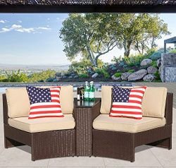 PATIOROMA Outdoor Patio Furniture Set Wicker 3 Piece Semicircular Sectional Sofa Seating Set wit ...