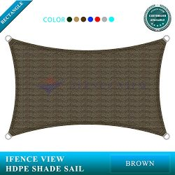Ifenceview 19'x20′ Rectangle UV Sun Shade Sail for Patio Yard Driveway Canopy Awning ...