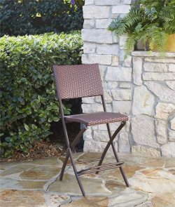 COSCO Outdoor Living Transitional 2 Pack Delray Steel Woven Wicker High Top Folding Patio Bistro ...