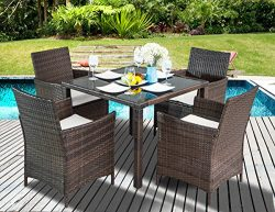 Leisure Zone 5-Piece Outdoor PE Rattan Wicker Patio Dining Table Set Garden Outdoor Patio Furnit ...