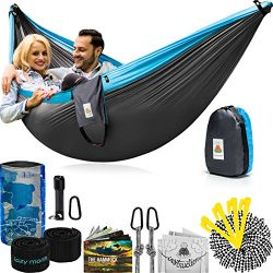 Double Camping Hammock With Straps – UNIQUE 4in1│Complete Fast Setup Hammocks Bundle, Waterproof ...