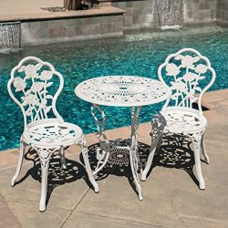 Belleze 3-Piece Aluminum Cast Rose Bistro Set with 24-Inch Top Table, White