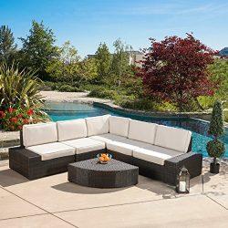 Great Deal Furniture Reddington Outdoor Wicker Patio Furniture Sectional Sofa Set (6 Piece, Brow ...