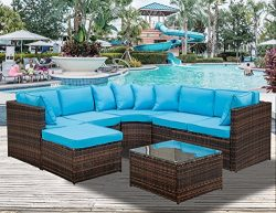 Leisure Zone 5-Piece Patio Furniture Set OutdoorSectional Conversation Set with Soft Cushions ( ...
