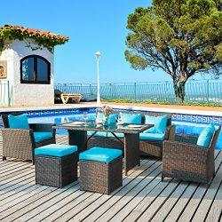 Merax. 6-Piece Patio Furniture Dining Set Outdoor Living Wicker Sofa Set (Blue Cushion.)