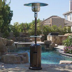 Belleze Patio Heater Propane with Adjustable Table, Hammered Tone Bronze -48,000BTU