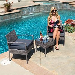 Belleze Wickered Furniture Outdoor Set | 3 Piece Patio Outdoor Rattan Patio Set | Two Chairs | O ...