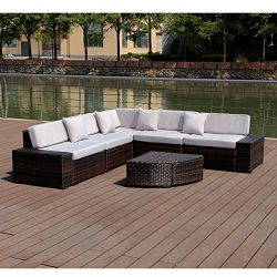 Esright 6 Pieces Patio Wicker Sofa PE Rattan Outdoor Sectional Patio Furniture Sets (Brown Ratta ...