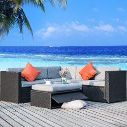 Merax 4 Piece Cushioned Outdoor Patio PE Rattan Furniture Set Sectional Garden Sofa (Black wicke ...