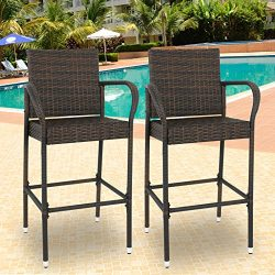 SUPER DEAL Set of 2 Patio Outdoor Wicker Bar Stool Pool Furniture Armrest, Brown Rattan Chair