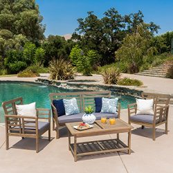 Louis Patio Furniture | 4 Piece Outdoor Chat Set | Acacia Wood with Grey Finish | Water Resistan ...