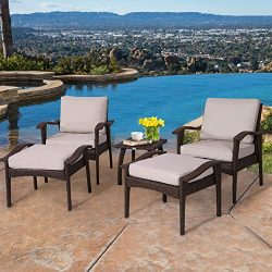 Diensday Outdoor Wicker Furniture 5 Piece Patio Conversation Set with Water Resistant Olefin Cus ...