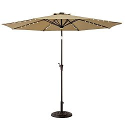 FLAME&SHADE 10ft Round Patio Umbrella with Solar Power LED Lights Outdoor Market Parasol wit ...