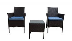 GOJOOASIS Rattan Patio Outdoor Armchairs PE Wicker Furniture 3 Piece Conversation Set Garden Tab ...