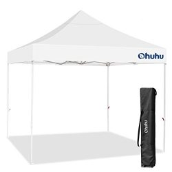 Ohuhu Pop-Up Canopy Tent – 10 x 10 ft, Instant Shelter Canopy with wheeled Carrying Bag, White