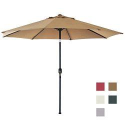 Blissun 9′ Patio Umbrella Aluminum Manual Push Button Tilt and Crank Garden Parasol (Tan)