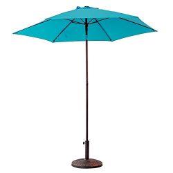 FLAME&SHADE 7'5 Outdoor Patio Market Umbrella with Push Button Tilt, Aqua Blue