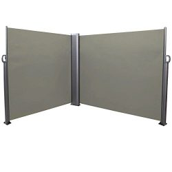 Sunnydaze Corner Patio Retractable Double Privacy Wall Side Awning with Steel Support Pole 10 x  ...