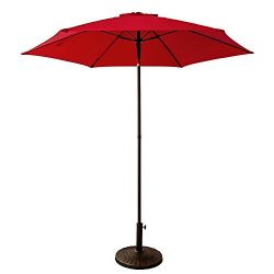 FLAME&SHADE 7ft 5in Round Outdoor Patio Market Umbrella with Push Button Tilt, Red