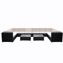 Do4U 7pcs Outdoor Patio Garden Rattan Wicker Sofa Set Sectional Furniture Set (Black 9009-12pcs)