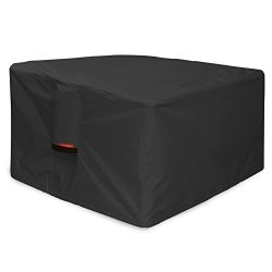 Porch Shield 600D Heavy Duty Patio Square Fire Pit/Table Cover 40 inch, 100% Waterproof, Black