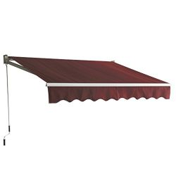 BestMassage Patio Manual Retractable Sun Shade Awning, Door Awnings Canopy 9.8'x8.2′