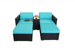 Outdoor Rattan Wicker Storage Box Function Sofa Set Garden Patio Furniture Cushioned Sectional C ...