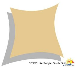 Patio Watcher 12′ x 16′ Rectangle Sun Sail Shade, UV Block Shade Sail, 185gsm, Sand