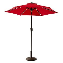 FLAME&SHADE 7ft 5in Patio Umbrella with Solar LED Lights Outdoor Market Parasol, Crank Lift, ...