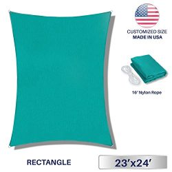 Windscreen4less 23′ x 24′ Rectangle Sun Shade Sail – Solid Turquoise Durable U ...