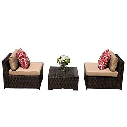 PATIOROMA Patio Furniture, 3 Piece All Weather Brown Rattan Wicker Sofa,Additional Seats for Sec ...