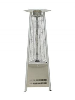 Belleze 42,000 BTU Pyramid Propane Medium Glass Tube Commercial Medium Glass Tube with Flames He ...