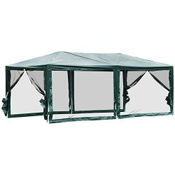 Outsunny 10′ x 20′ Gazebo Canopy Cover Tent with Removable Mesh Side Walls – G ...