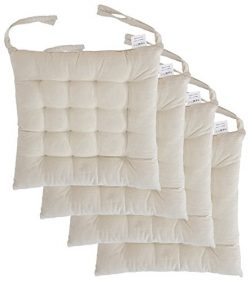 "Cottone 100% Cotton Chair Pads w/ Ties (Set of 4) | 16"" x 16"" Square 