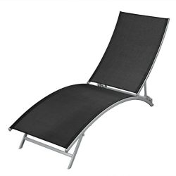 vidaXL Patio Lounge Sun Lounger Chair Curved Recliner Outdoor Garden Textilene