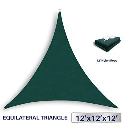 Windscreen4less 12′ x 12′ x 12′ Sun Shade Sail Canopy in Green with Commercial ...