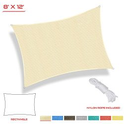 The Patio Shop 8′ x 12′ Sun Shade Sail for Patio Backyard Deck UV Block Fabric ̵ ...
