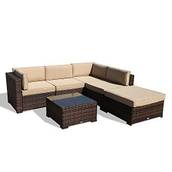 Super Patio 6 Piece Outdoor Furniture Sectional Set, All Weather PE Brown Wicker Set Sofas with  ...
