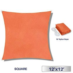 12′ x 12′ Sun Shade Sail UV Block Fabric Canopy in Orange Square for Patio Garden Cu ...