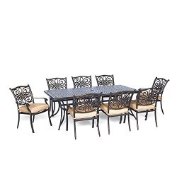 Hanover Traditions 9 Piece Dining Set with Eight Stationary Dining Chairs and an Extra-Long Dini ...