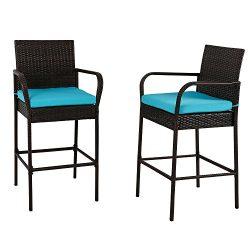 Kinbor Outdoor 2 Pcs Outdoor Bar Height Chair Set Patio Wicker Rattan Counter Dining Desk Bar St ...