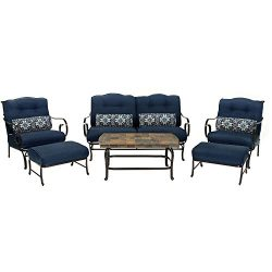 Oceana 6-Piece Patio Set in Navy Blue with a Stone-top Coffee Table