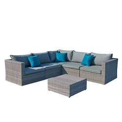 Starsong MS122 Patio Sofa Set Wicker Sectional, Grey