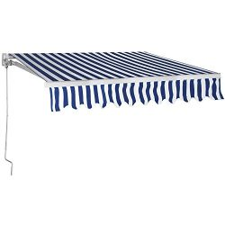 Yaheetech Aluminum Patio Manual Retractable Sun Shade Awning Sunshade Shelter Outdoor Blue,8.2  ...