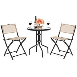 Best Choice Products 3-Piece Patio Bistro Dining Furniture Set w/Round Textured Glass Table Top, ...